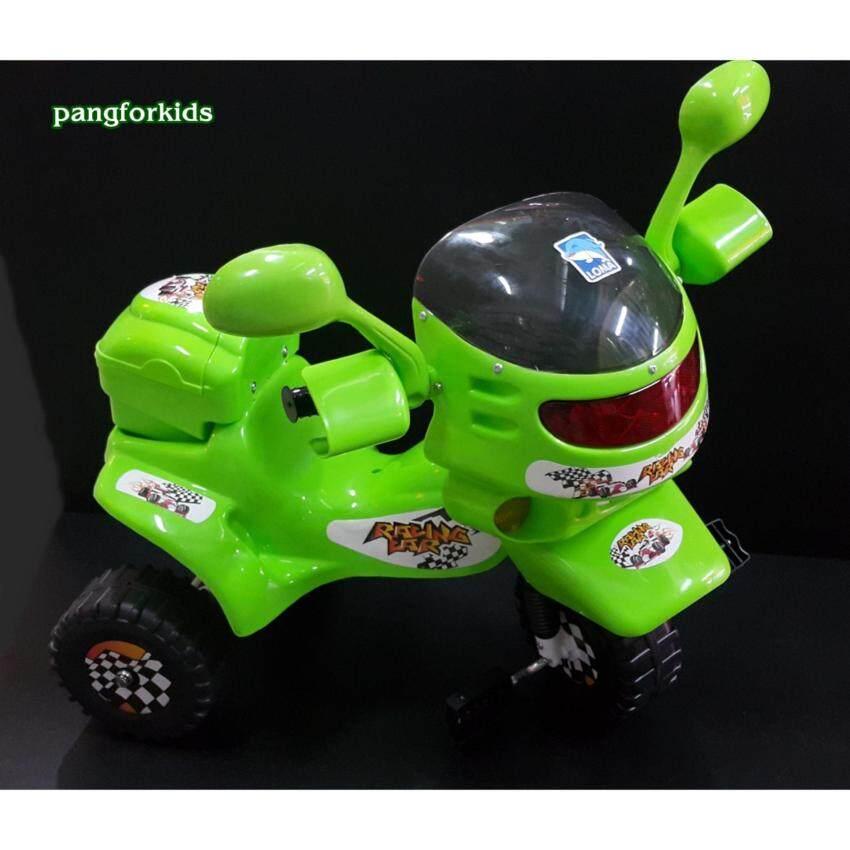 Pangforkids รถจักรยานสามล้อเด็ก หน้ามอร์เตอร์ไซค์ รุ่น MT-0529 มีไฟกระพริบพร้อมเสียงเพลง มีกล่องเก็บของด้านหลัง (แดง เขียว เหลือง)