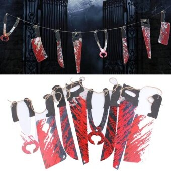 Party Horror Spooky Halloween Props Blooding Knife Hanging DecorHouse Garland Banner - intl