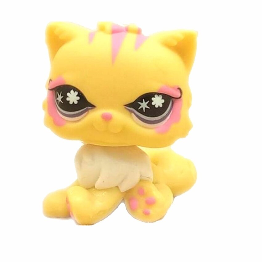 Pet Shop Animal Beautiful yellow cat with purple eyes Figure Doll Child Toy LPS Figure Doll birthday girl gift toys - intl