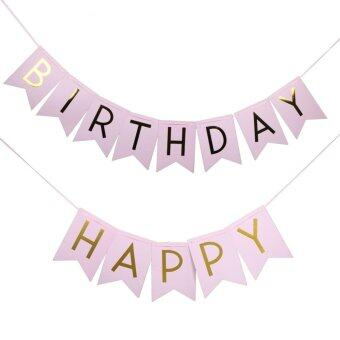 Pink Happy Birthday Party Flags Banner Party Decoration Photo Props- intl