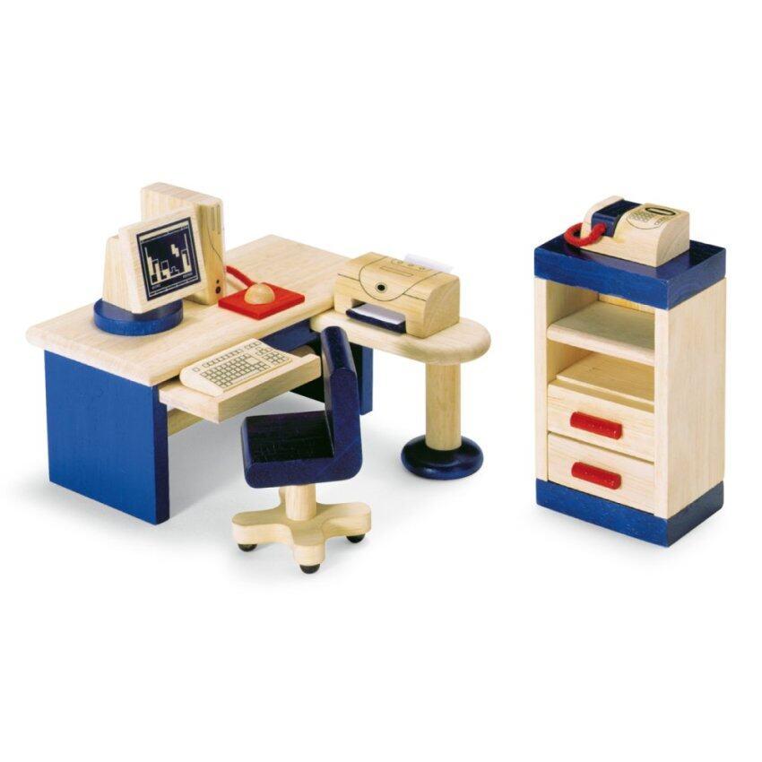 PINTOY STUDY ของเล่นไม้ บ้านตุ๊กตา ชุด โต๊ะทำงาน