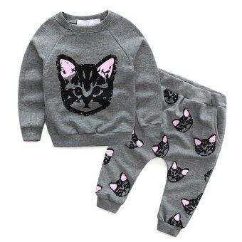 ลูกแมวเด็ก ๆ ฤดูใบไม้ร่วงเสื้อผ้าเสื้อยืด+กางเกง