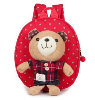 กระเป๋าเด็ก สายจูงเด็ก เป้จูง กระเป๋าเป้เด็ก ลายหมี สีแดง
