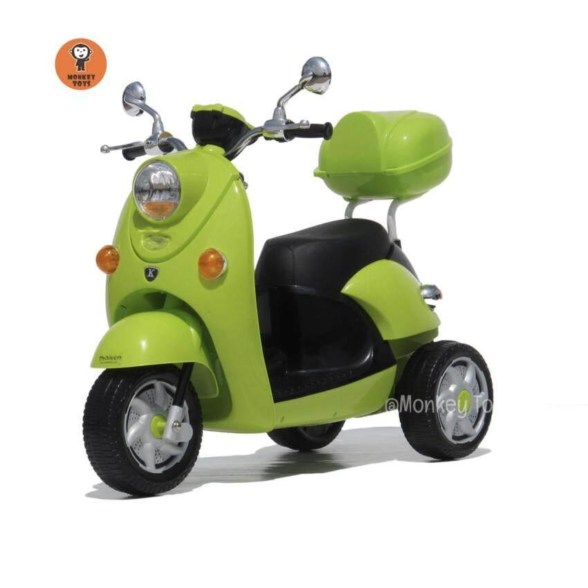 รถมอเตอร์ไซค์ สามล้อเด็กไฟฟ้า (สีเขียว)