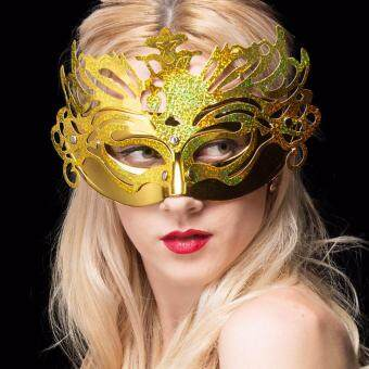 หน้ากากราชินีทองคำ หน้ากากออกงานสไตล์เวนิสคลาสสิก หน้ากากปาร์ตี้ (สีทอง)