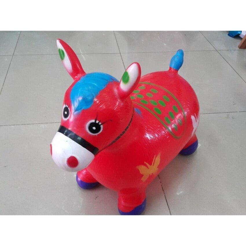 ตุ๊กตายางสัตว์รูปม้า รุ่นนั่งกระโดด เด้งดึ๊ง ฝึกการทรงตัว และฝึกกล้ามเนื้อให้แข็งแรง สีแดง ชมพู เขียว และน้ำเงิน