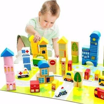 ของเล่น ของเล่นเด็ก ของเล่นไม้ บล๊อคตัวต่อแบบไม้ บล๊อคตัวต่อสร้างเมืองคุณหนูหรรษา
