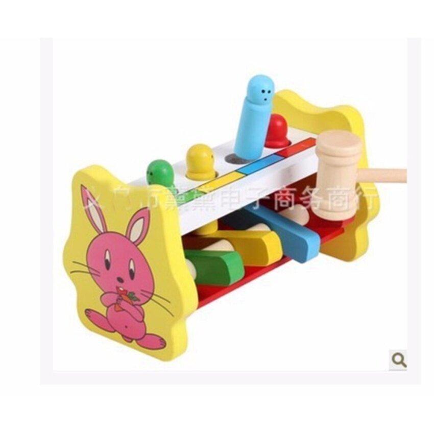 ของเล่นไม้ ค้อนทุบฝึกกล้ามเนื้อมือเเละสายตา    (รุ่น กระต่ายน้อยแสนสน )  หลากสี