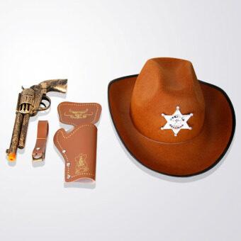 ทางตะวันตกเลียนแบบปืนพกชุดผู้ใหญ่แต่งตัวหมวกหมวกคาวบอย