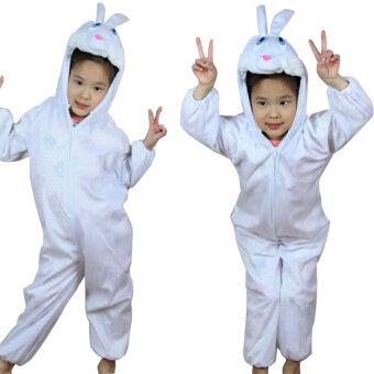 การ์ตูนขนาดใหญ่สีขาวเด็กกระต่ายประสิทธิภาพเสื้อผ้า