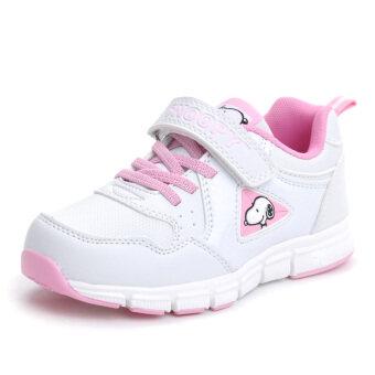 สนูปปี้สีขาวเด็กผู้ชายและเด็กผู้หญิงฤดูใบไม้ร่วงรองเท้าวิ่งรองเท้าเด็ก
