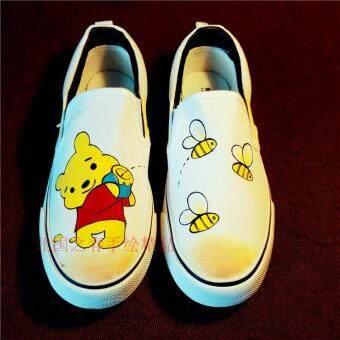 หมีพูห์น่ารักสำหรับผู้ชายและผู้หญิงครอบครัวพอดีกราฟฟิตีรองเท้ามือวาดรองเท้าผ้าใบ