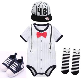 สุภาพบุรุษทารกทารกแขนสั้นเบสบอลเสื้อผ้าแพคเกจผายลมเสื้อผ้าอึกทึกครึกโครม