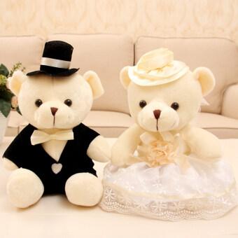 เชื่อฟังแมวด้านหน้ากดตุ๊กตาหมีแต่งงาน