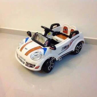 รถแบตเตอรี่ รถเด็กนั่ง มินิจัสติน สีครีม รถเด็กไฟฟ้า ขับเองได้ บังคับรีโมทได้