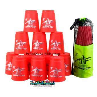 ProudNada Toys Stack Cup เกมส์เรียงแก้ว(สีแดง) Magic flying stackedcup 12 PCS Rapid cup NO.P13(Red)