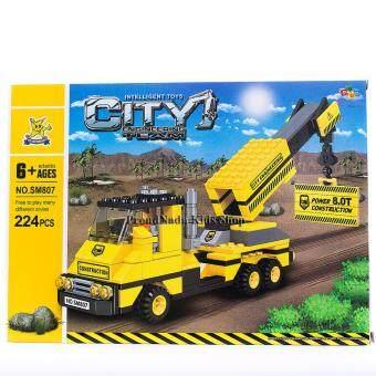 ProudNada Toys ของเล่นเด็กชุดตัวต่อเลโก้รถก่อสร้าง STARMERRY INTELLIGENT TOYS CITY ENGINEERING TEARM 224 PCS NO.SM807