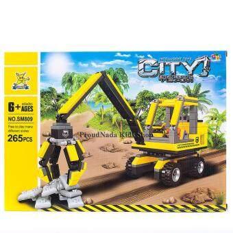 ProudNada Toys ของเล่นเด็กชุดตัวต่อเลโก้รถก่อสร้าง STARMERRY INTELLIGENT TOYS CITY ENGINEERING TEARM 265 PCS NO.SM809