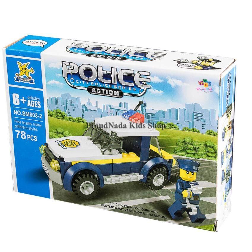 ProudNada Toys ของเล่นเด็กชุดตัวต่อเลโก้ตำรวจ STARMERRY POLICE CITY POLICE SERIES 78 PCS SM603-2