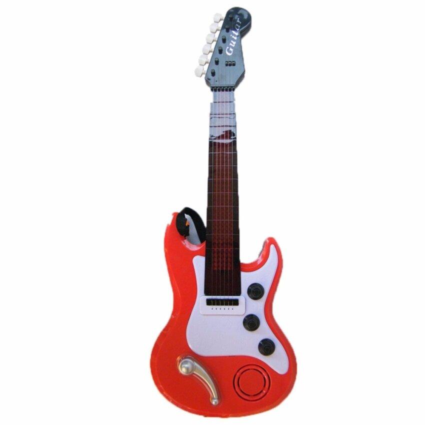 Rctoystory ของเล่น กีตาร์ร็อค กีต้าร์ไฟฟ้า Electric Guitar มีเพลง มีไฟ (สีแดง)