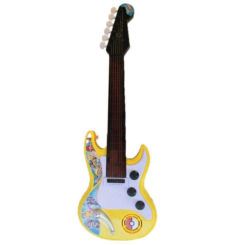 Rctoystory ของเล่น กีตาร์ร็อค กีต้าร์ไฟฟ้า Electric Guitar มีเพลง มีไฟ ลายโปเกมอน (สีเหลือง)