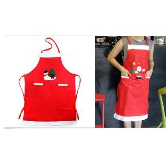 Red Apron Family Kitchen Cooking Xmas Ornaments Party Supplies Christmas Decorations For Home New Year - intl