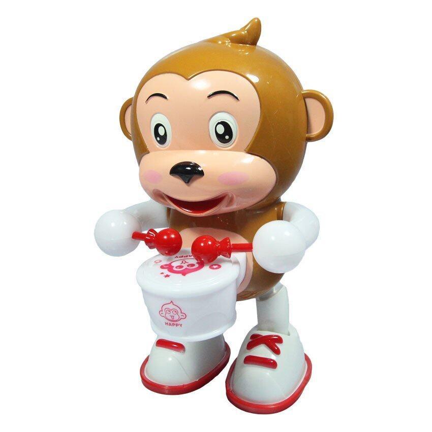 RWR TOY ของเล่น ลิง ลิงตีกลอง ใส่ถ่าน มีเสียง มีไฟรอบตัว DAB2016-2