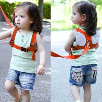 Harga Safety Harness Leashes Strap Bag Anti-lost Angle Wings KeeperToddler Walking Wings for Baby and Kids (Orange)