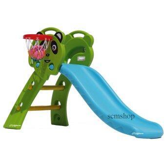 SCM Shop สไลเดอร์ พร้อมแป้นบาสและลูกบาส สไลเดอร์แพนด้า สีฟ้า-เขียว (image 0)