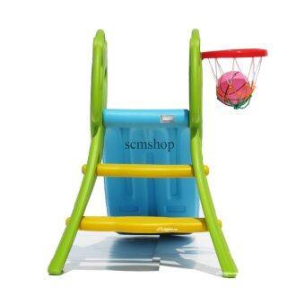 SCM Shop สไลเดอร์ พร้อมแป้นบาสและลูกบาส สไลเดอร์แพนด้า สีฟ้า-เขียว (image 1)