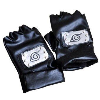 Senmei Synthetic Leather Leaf Village Kakashi Cosplay Gloves(Black) - intl
