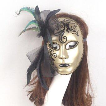 Sexy Women Full Face Mask Masquerade Halloween Party Fancy CostumeGold - intl