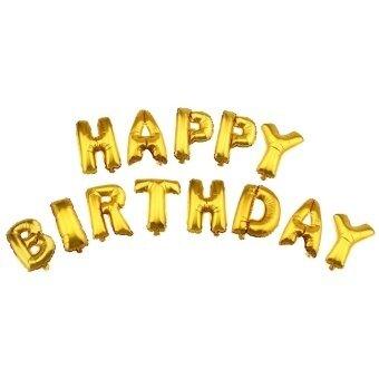 SH Alphabet Letters Aluminum Foil Balloons Happy Birthday Party Decoration Gold Blue - intl