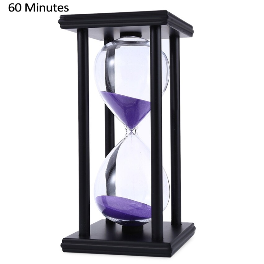SH Hourglass Sand Timer 60 Minutes Wood Sand Timer for Kitchen Office School Decorative Use Black Black - intl