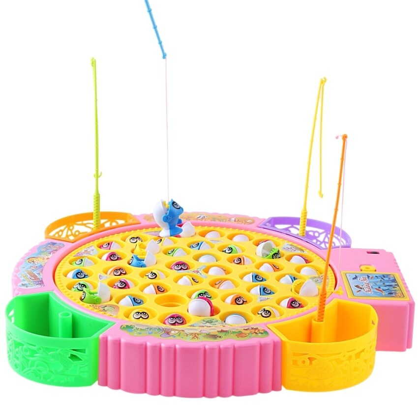 SH Kids Colorful Plastic Electronic Fishing Musical Rotating Toy with 45 Fish 4 Fishing Rods Parent-Child Funny Game - intl