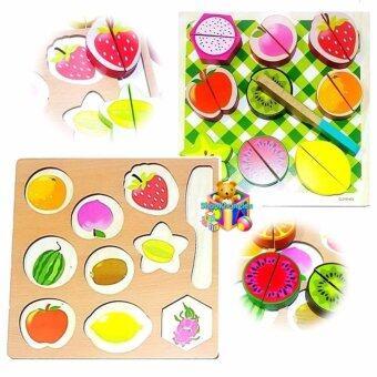 ShopKhonglen ของเล่นไม้เสริมพัฒนการ 2 in 1 จับคู่ผลไม้เเละหั่นผลไม้9 ชนิด