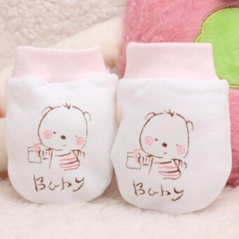 Sunshop Newborn Baby Gift Pure Cotton Anti-scratch Gloves Breathable Mittens - intl