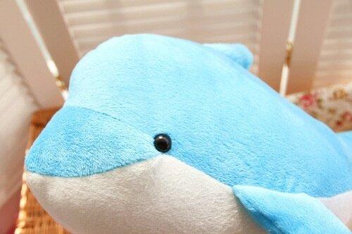 Super soft velvet plush toy doll dolphin whale big pillow - intl