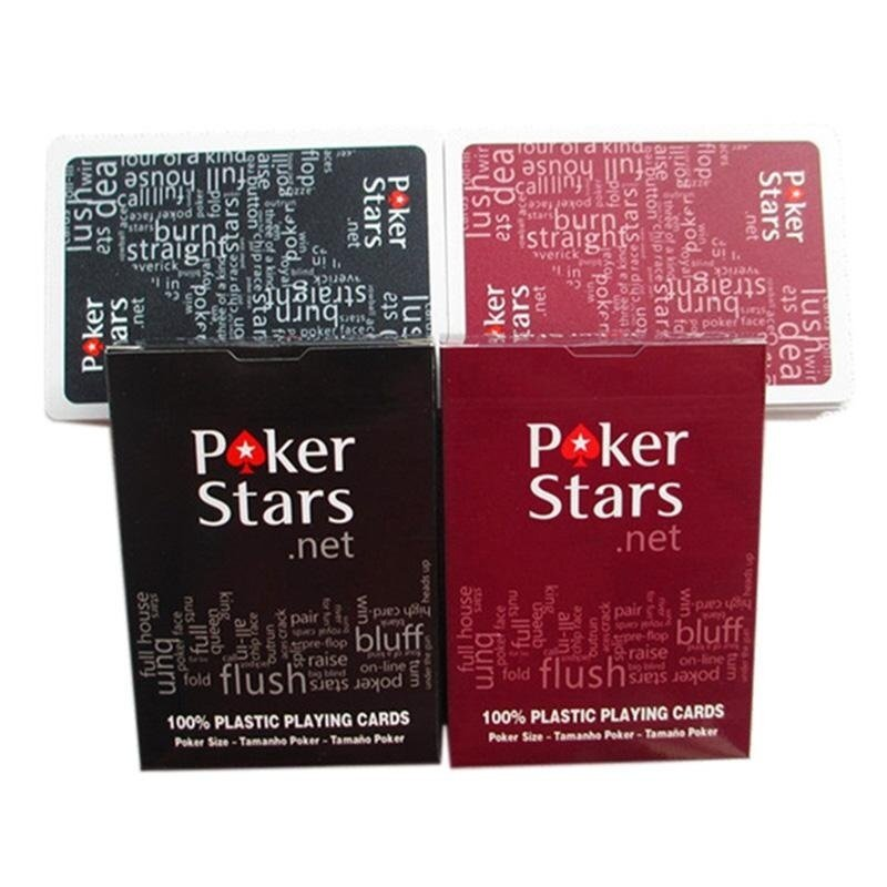 Super Star Mall-2pcs/set Poker Star Texas Washable Poker Waterproof Plastic Playing Cards for Club - intl