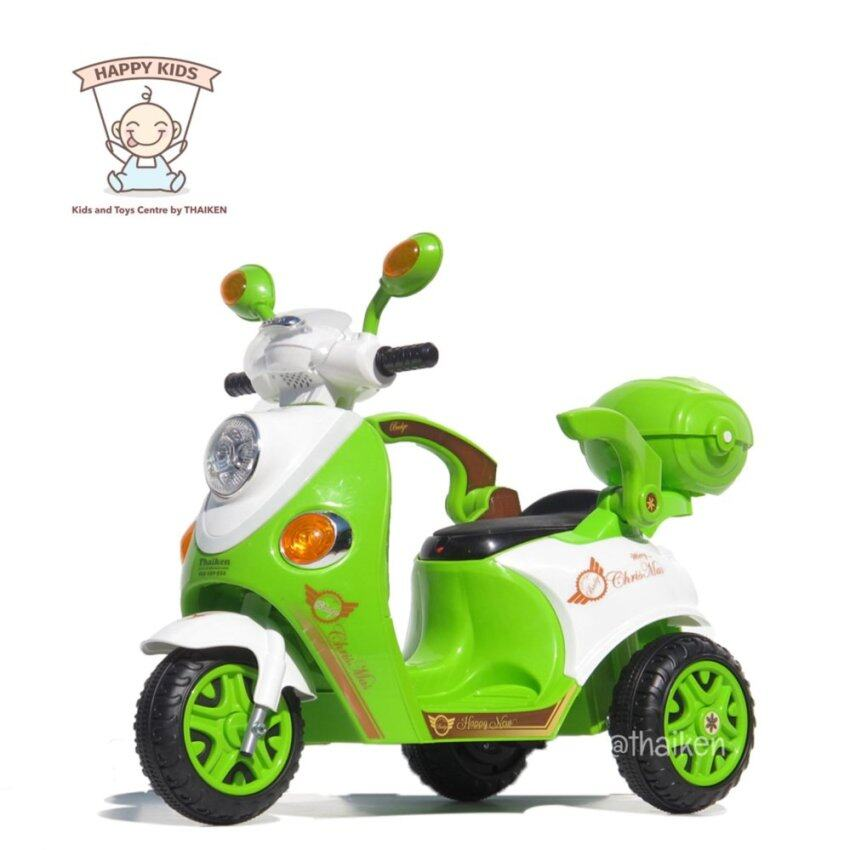 Thaiken รถมอเตอร์ไซค์ สามล้อเด็กไฟฟ้า สกูปปี้ (สีเขียว)  3103 image