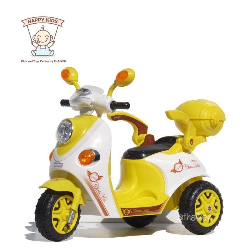 Thaiken รถมอเตอร์ไซค์ สามล้อเด็กไฟฟ้า สกูปปี้ (สีเหลือง) 3103