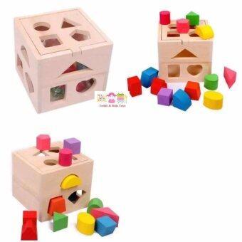 Todds & Kids Toys ของเล่นไม้เสริมพัฒนาการบล๊อคหยอดรูปทรงเรขาคณิต 4 ด้าน 13 รูปทรง สีธรรมชาติ