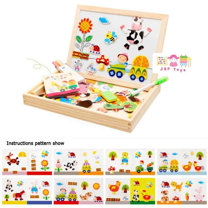 Todds & Kids Toys ของเล่นไม้เสริมพัฒนาการ ชุดกระดานเเม่เหล็กเเละกระดานดำชุด Happy Farm