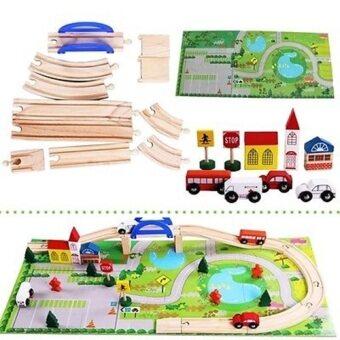 Todds Kids Toys ของเล่นเสริมพัฒนาการ บล็อกไม้ชุดสร้างเมือง Rail Overpass เมืองจำลอง