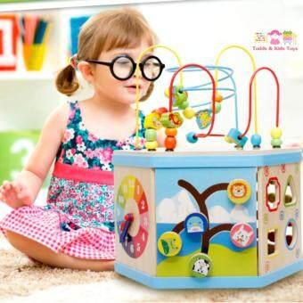 ToddsKids Toys ของเล่นไม้ เสริมพัฒนาการ ชุดกล่องกิจกรรมไม้ 7ด้าน
