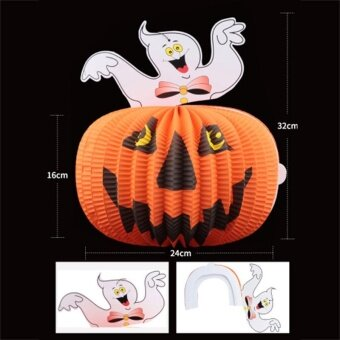 Tom Cat Ghost Halloween Decor Pumpkin Paper Lantern Lights Lamp Party Scary - intl