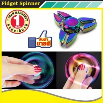 Tri Fidget Hand Spinner Triangle Alloy Finger Toy EDC Focus ADHDAutism Purple - intl