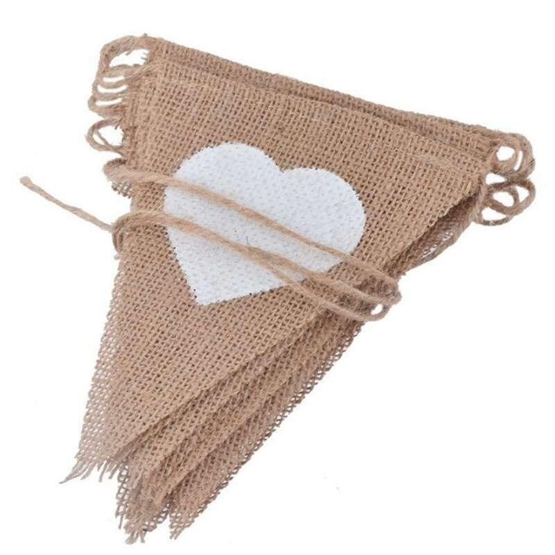 Triangle Flags White Heart Banner Garland Wedding Outdoor Hanging Decor - intl image