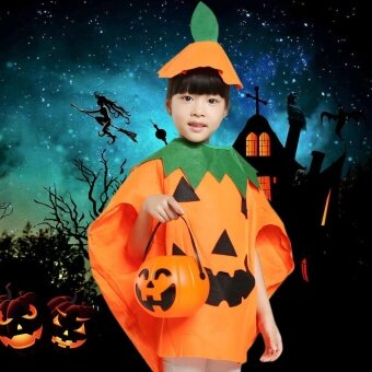 Unisex Kids Orange Pumpkin Shirt Clothing with Hat Halloween Masquerade Party Costume Role Play Suit - intl