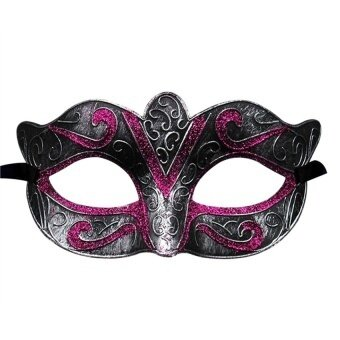 Unisex Vintage Halloween Costume Masquerade Masksy Half Facemask(Silver And Pink) - intl